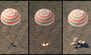 Soyuz retro rockets firing during landing