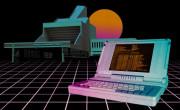 Old school leptop na vaporwave ozadju