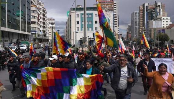 Protesti v Boliviji v podporo Evu Moralesu