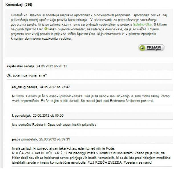 Slika komentarjev na Dnevniku.