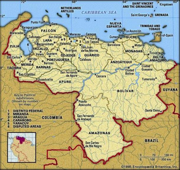 Zemljevid Venezuele