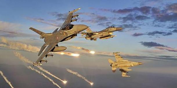 turško letalstvo nad Afrin