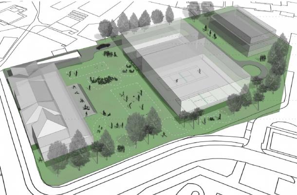 Skica načrta projekta športnega parka Trnovo
