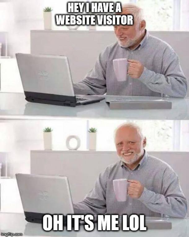 """Mem starejšega strička, ki pravi """"hej, imam obiskovalca"""" in nato """"aja jaz sem, lol"""" v naslednjem okvirčku"""